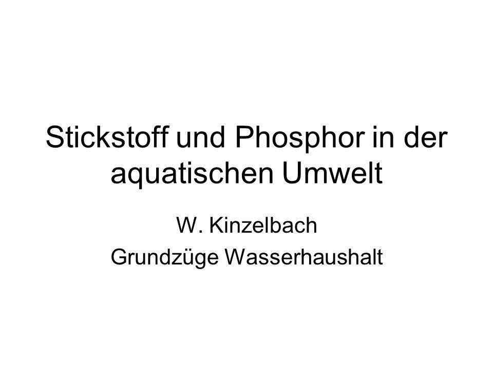 Stickstoff und Phosphor in der aquatischen Umwelt W. Kinzelbach Grundzüge Wasserhaushalt