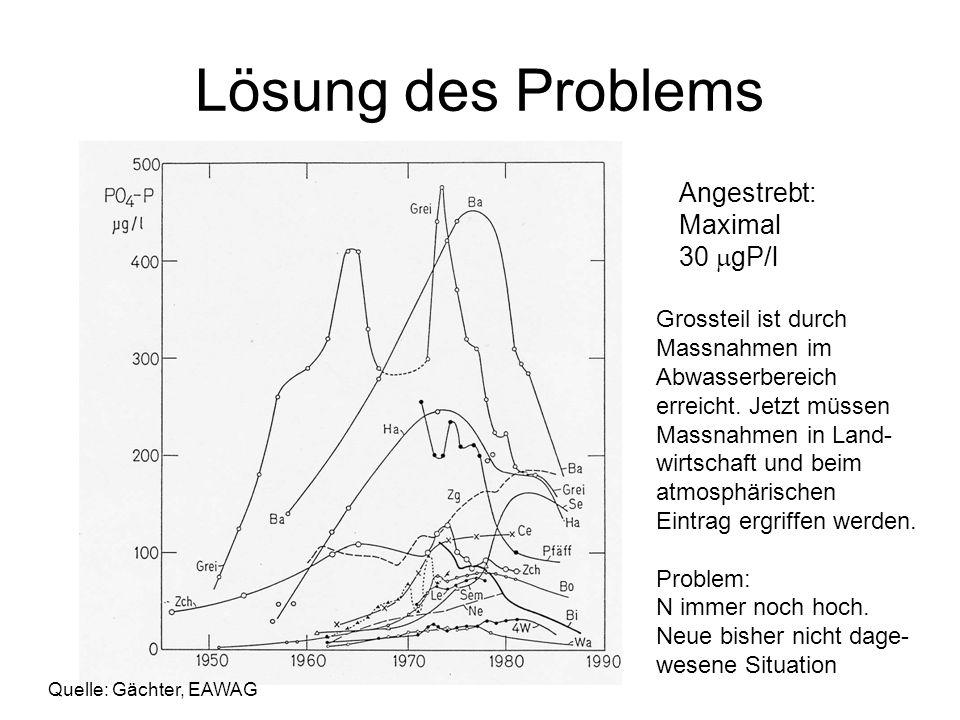 Lösung des Problems Angestrebt: Maximal 30 gP/l Grossteil ist durch Massnahmen im Abwasserbereich erreicht. Jetzt müssen Massnahmen in Land- wirtschaf