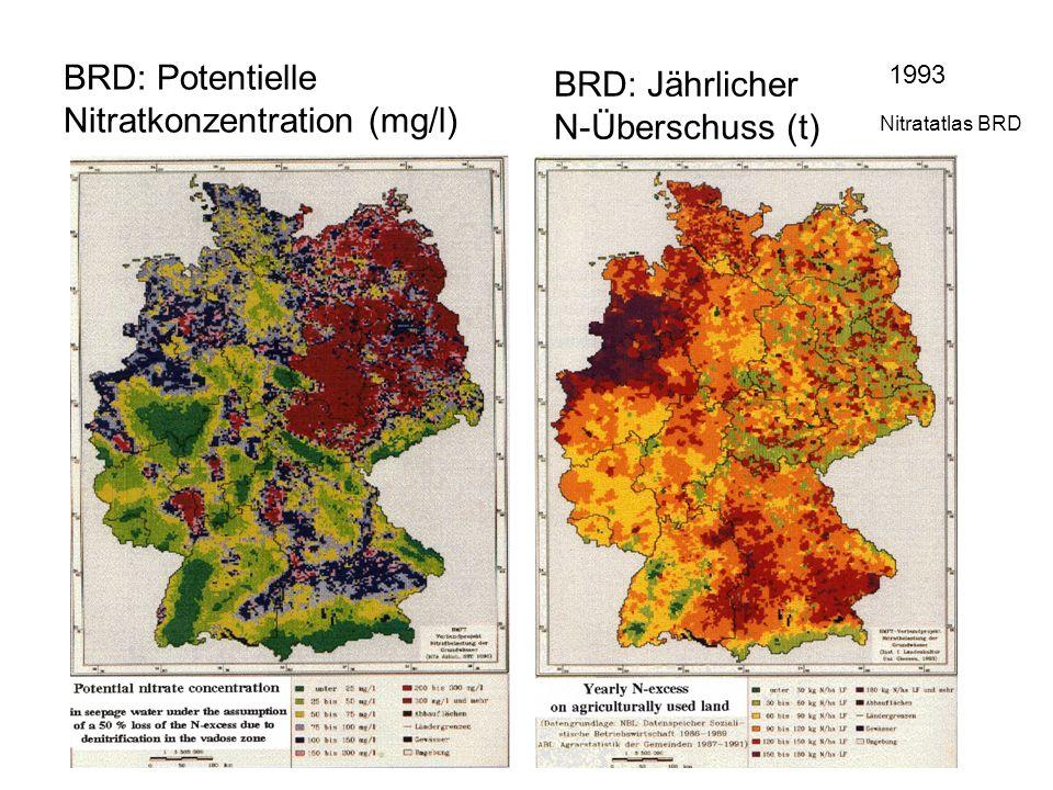 BRD: Potentielle Nitratkonzentration (mg/l) BRD: Jährlicher N-Überschuss (t) 1993 Nitratatlas BRD