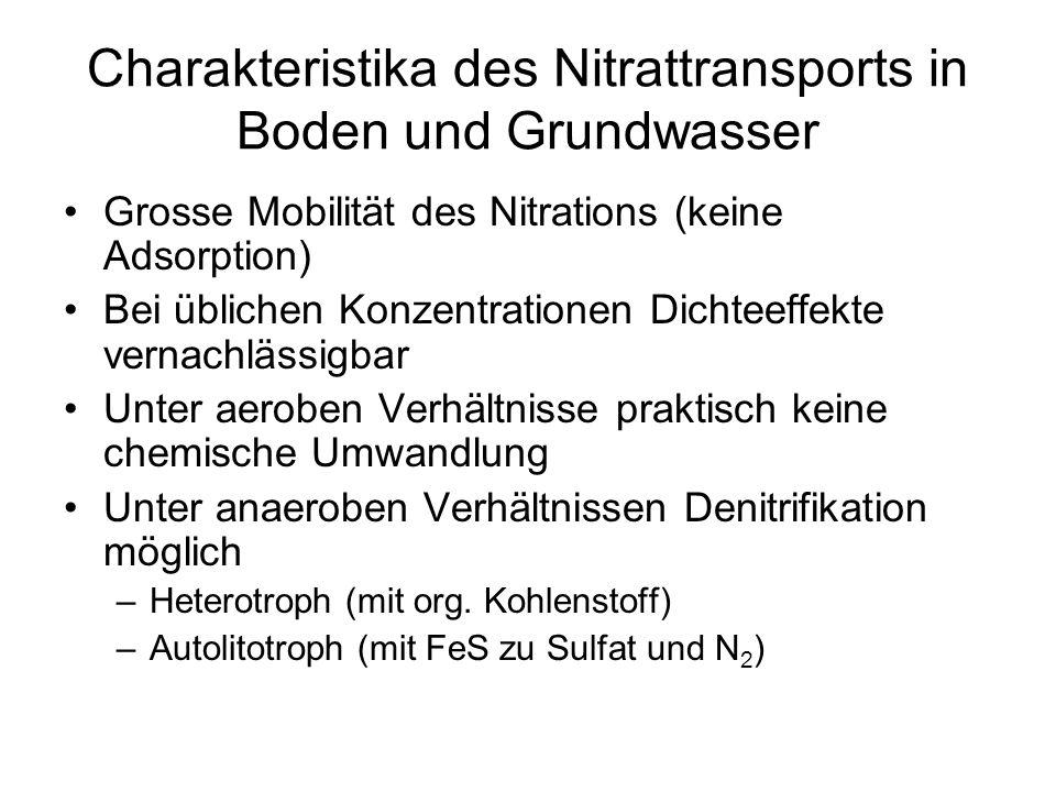 Charakteristika des Nitrattransports in Boden und Grundwasser Grosse Mobilität des Nitrations (keine Adsorption) Bei üblichen Konzentrationen Dichteef