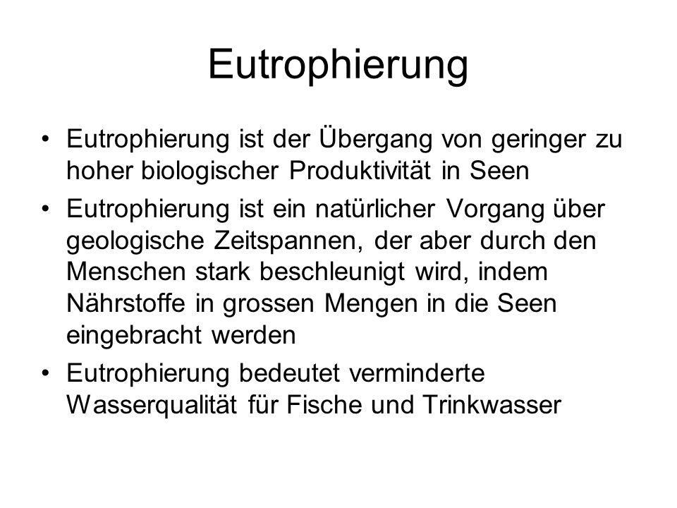 Eutrophierung Eutrophierung ist der Übergang von geringer zu hoher biologischer Produktivität in Seen Eutrophierung ist ein natürlicher Vorgang über g