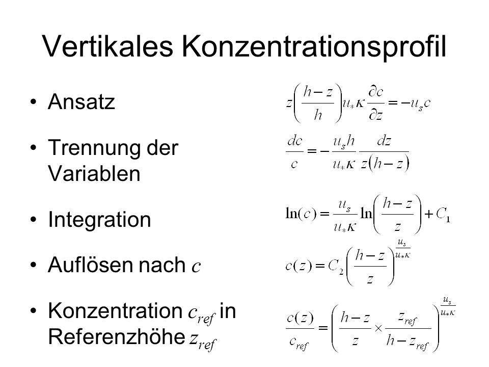 Vertikales Konzentrationsprofil Ansatz Trennung der Variablen Integration Auflösen nach c Konzentration c ref in Referenzhöhe z ref
