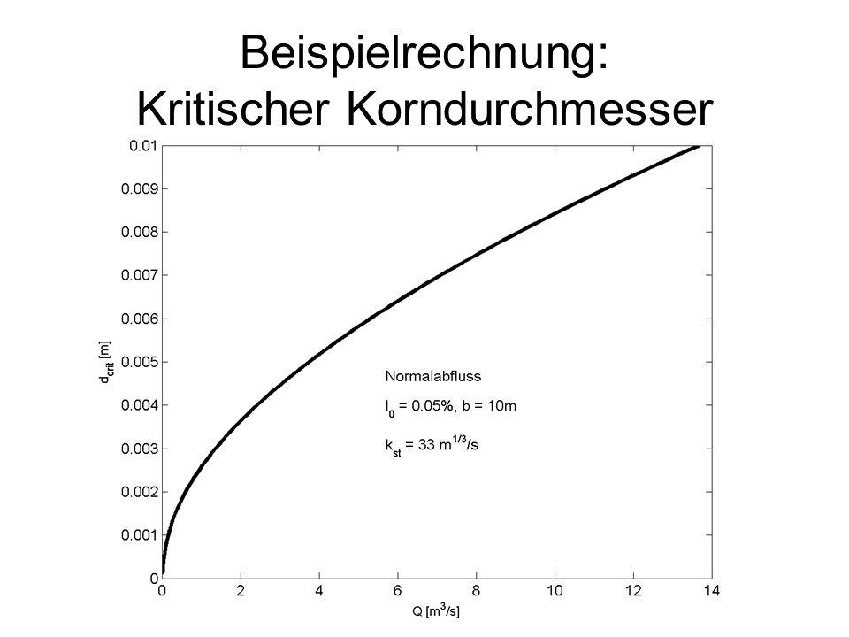 Beispielrechnung: Kritischer Korndurchmesser