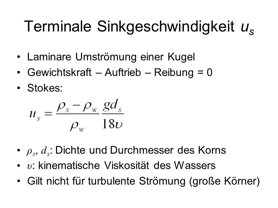 Terminale Sinkgeschwindigkeit u s Laminare Umströmung einer Kugel Gewichtskraft – Auftrieb – Reibung = 0 Stokes: ρ s, d s : Dichte und Durchmesser des