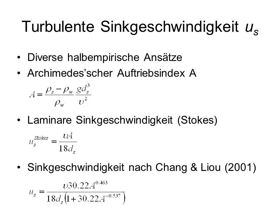 Turbulente Sinkgeschwindigkeit u s Diverse halbempirische Ansätze Archimedesscher Auftriebsindex A Laminare Sinkgeschwindigkeit (Stokes) Sinkgeschwind