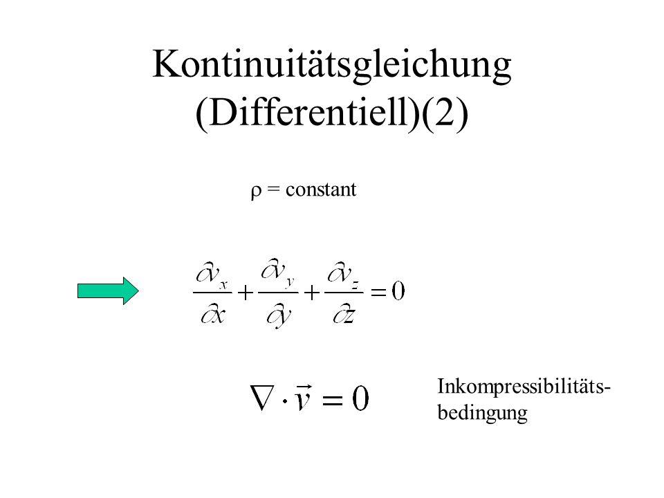 Kontinuitätsgleichung (Differentiell)(2) = constant Inkompressibilitäts- bedingung