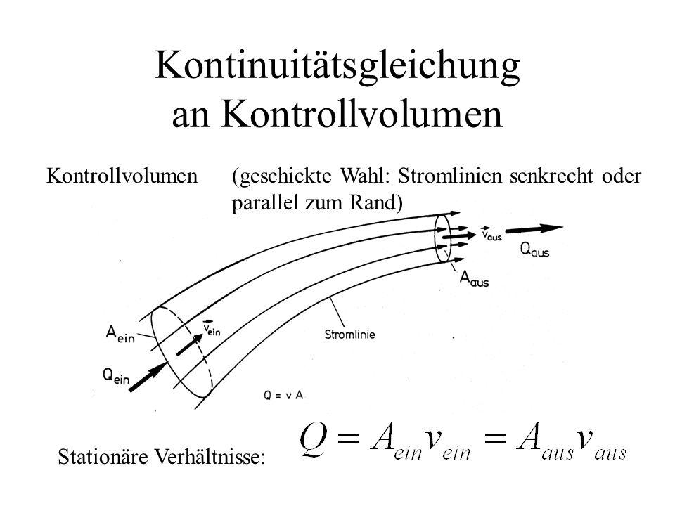 Kontinuitätsgleichung an Kontrollvolumen Stationäre Verhältnisse: Kontrollvolumen(geschickte Wahl: Stromlinien senkrecht oder parallel zum Rand)