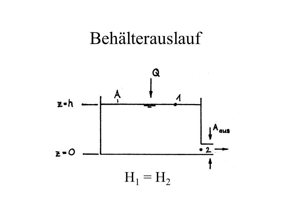 Behälterauslauf H 1 = H 2