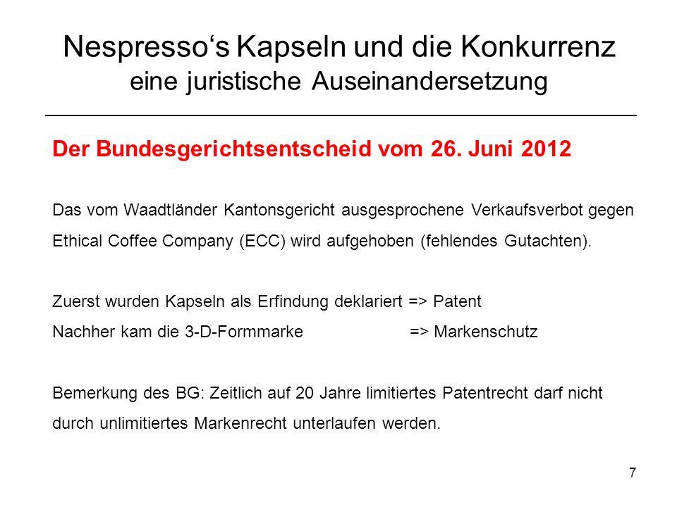 8 Nespressos Kapseln und die Konkurrenz eine juristische Auseinandersetzung Schlusswort ECC Chef: Sieg von Konsumenten BG: Nein zur Umgehung der Schutzdauer Nespresso bleibt Marktleader Im Ausland ist Nespresso immer erfolglos im juristischen Streit Endgültiger Entscheid vom HG St.