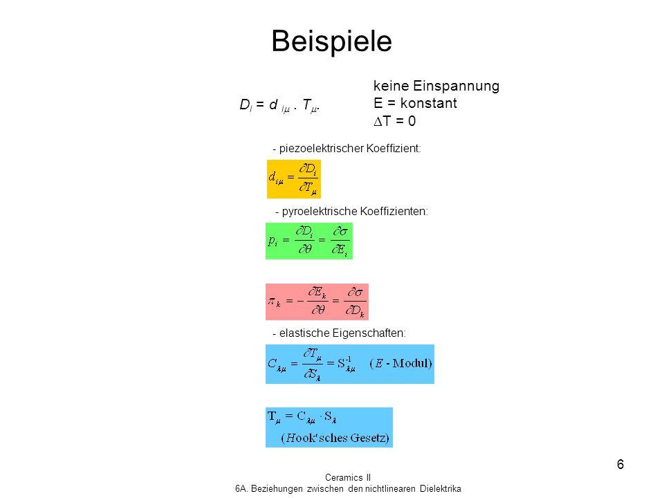Ceramics II 6A. Beziehungen zwischen den nichtlinearen Dielektrika 6 Beispiele D i = d i. T. keine Einspannung E = konstant T = 0 - piezoelektrischer