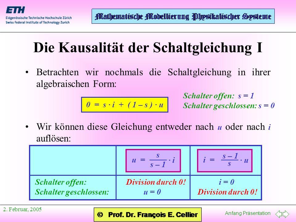 Anfang Präsentation 2. Februar, 2005 Schalter offen: Division durch 0.