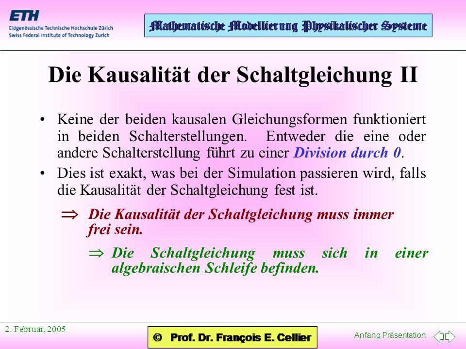 Anfang Präsentation 2.Februar, 2005 Ein Beispiel I Beide Kausalitäten sind möglich.