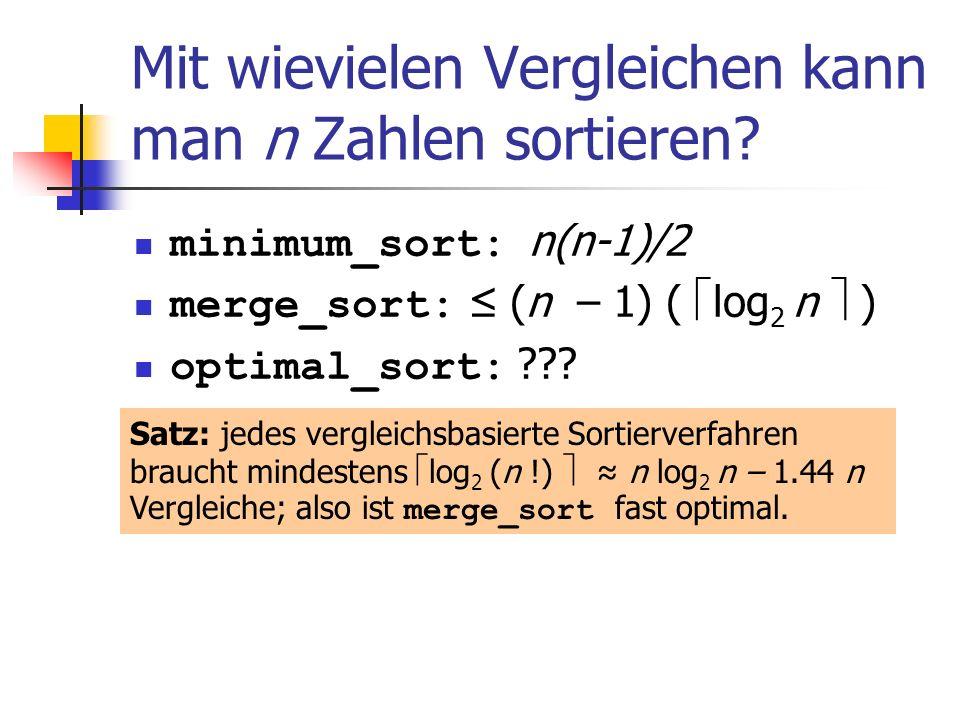 Mit wievielen Vergleichen kann man n Zahlen sortieren? minimum_sort: n(n-1)/2 merge_sort: (n – 1) ( log 2 n ) optimal_sort: ??? Satz: jedes vergleichs