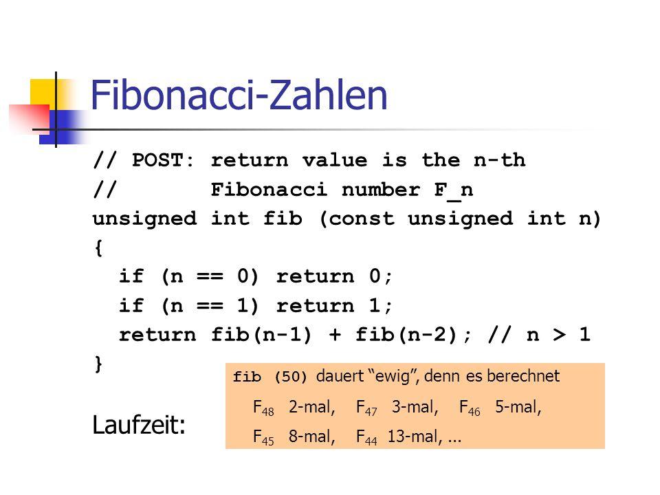 Fibonacci-Zahlen // POST: return value is the n-th // Fibonacci number F_n unsigned int fib (const unsigned int n) { if (n == 0) return 0; if (n == 1)