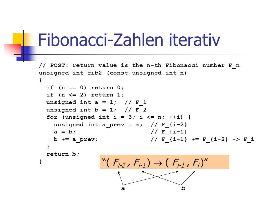 Fibonacci-Zahlen iterativ // POST: return value is the n-th Fibonacci number F_n unsigned int fib2 (const unsigned int n) { if (n == 0) return 0; if (
