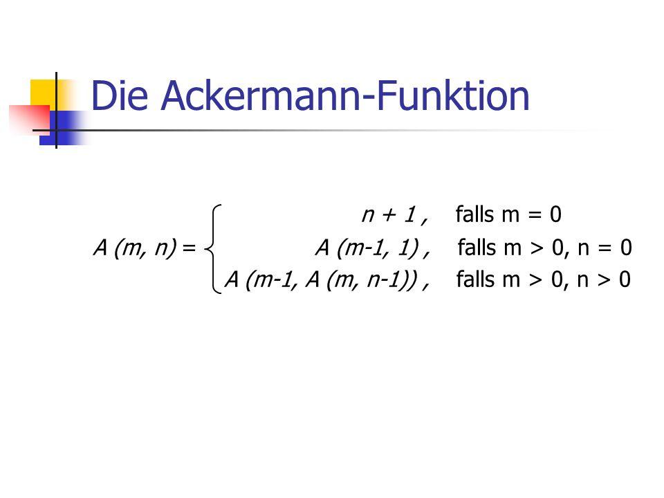 Die Ackermann-Funktion n + 1, falls m = 0 A (m, n) = A (m-1, 1), falls m > 0, n = 0 A (m-1, A (m, n-1)), falls m > 0, n > 0