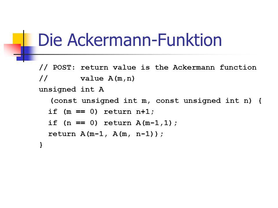 Die Ackermann-Funktion // POST: return value is the Ackermann function // value A(m,n) unsigned int A (const unsigned int m, const unsigned int n) { i