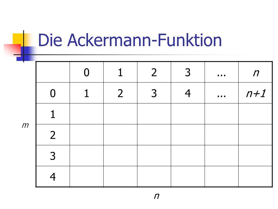 Die Ackermann-Funktion 0123...n 01234 n+1 1 2 3 4 m n