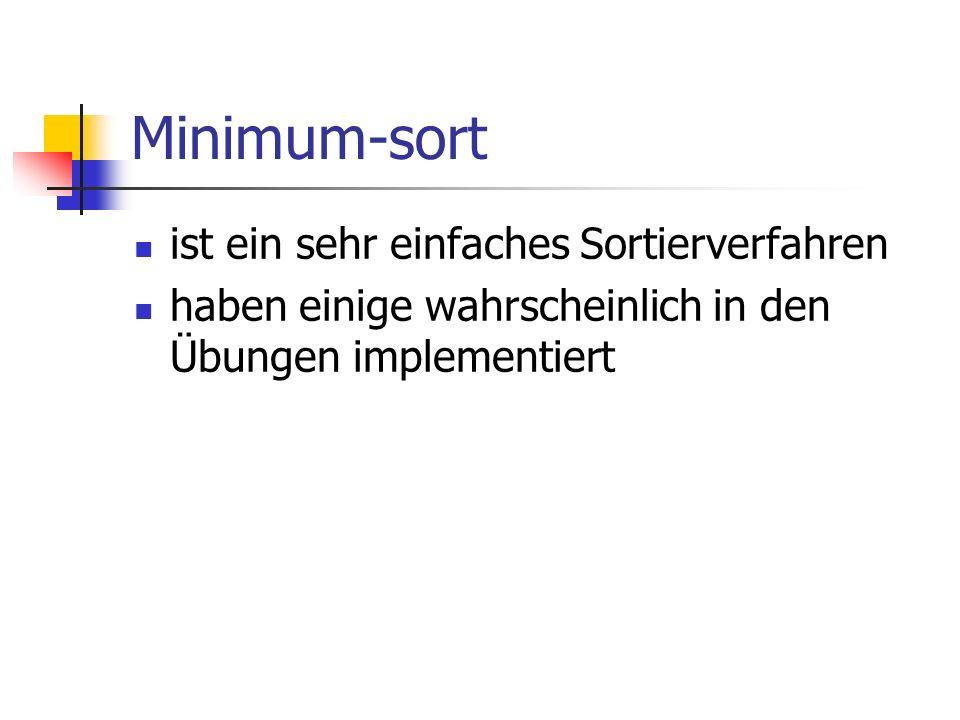 Minimum-sort ist ein sehr einfaches Sortierverfahren haben einige wahrscheinlich in den Übungen implementiert