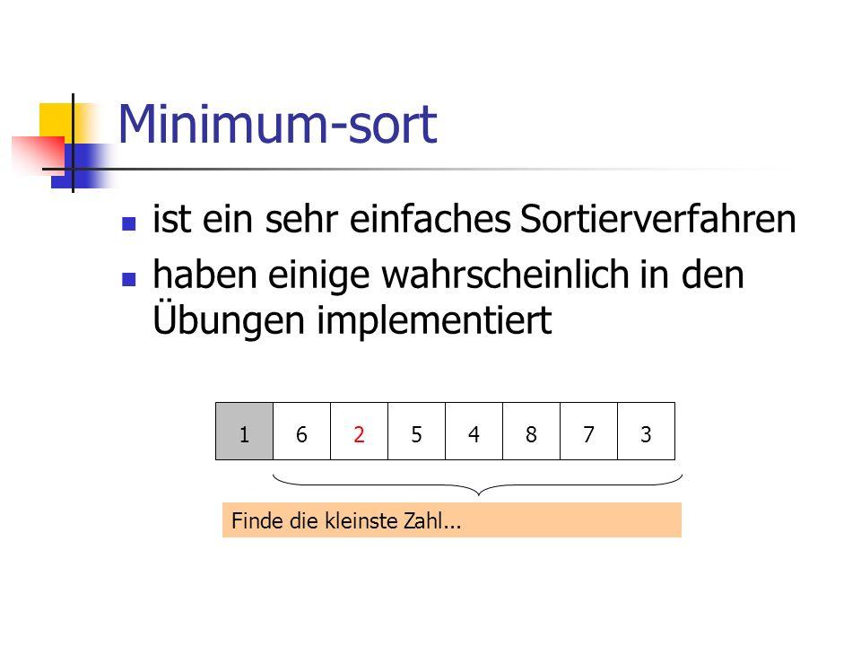 Minimum-sort ist ein sehr einfaches Sortierverfahren haben einige wahrscheinlich in den Übungen implementiert 16254873 Finde die kleinste Zahl...