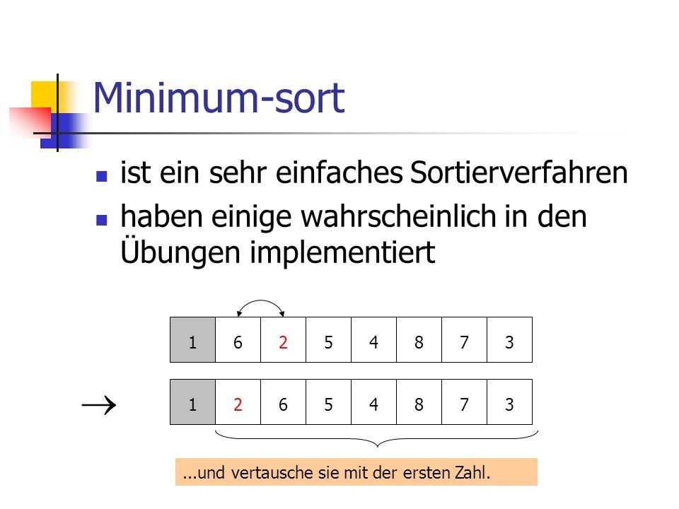 Minimum-sort ist ein sehr einfaches Sortierverfahren haben einige wahrscheinlich in den Übungen implementiert 16254873...und vertausche sie mit der er