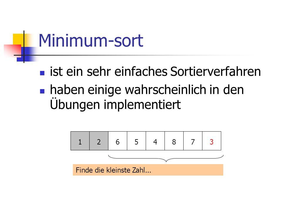 Minimum-sort ist ein sehr einfaches Sortierverfahren haben einige wahrscheinlich in den Übungen implementiert 12654873 Finde die kleinste Zahl...