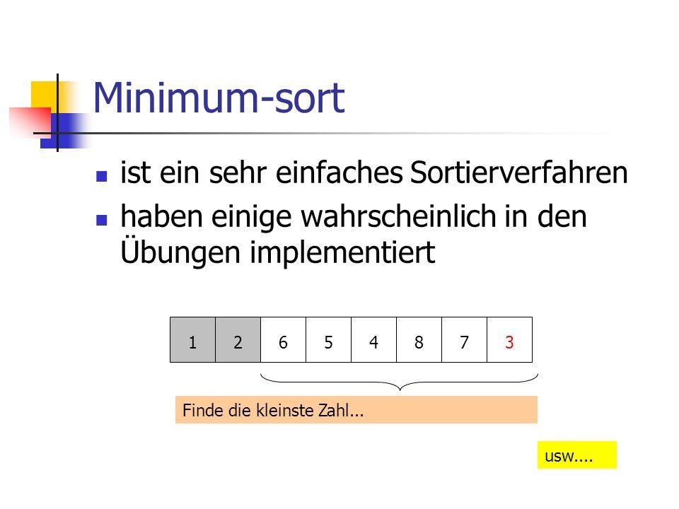 Minimum-sort ist ein sehr einfaches Sortierverfahren haben einige wahrscheinlich in den Übungen implementiert 12654873 Finde die kleinste Zahl... usw.