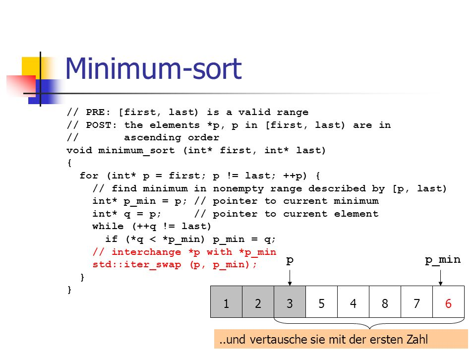Minimum-sort // PRE: [first, last) is a valid range // POST: the elements *p, p in [first, last) are in // ascending order void minimum_sort (int* fir