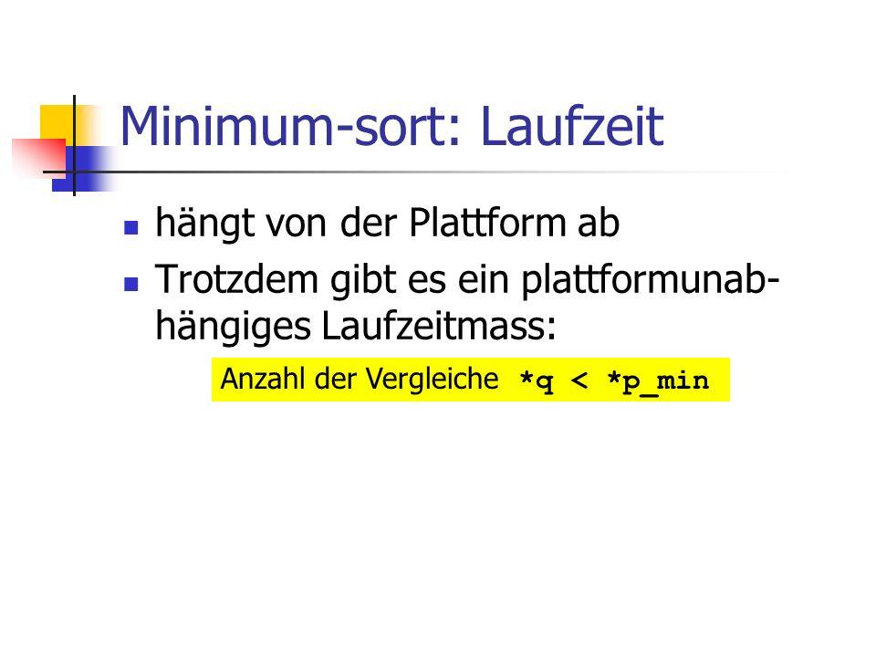 Minimum-sort: Laufzeit hängt von der Plattform ab Trotzdem gibt es ein plattformunab- hängiges Laufzeitmass: Anzahl der Vergleiche *q < *p_min