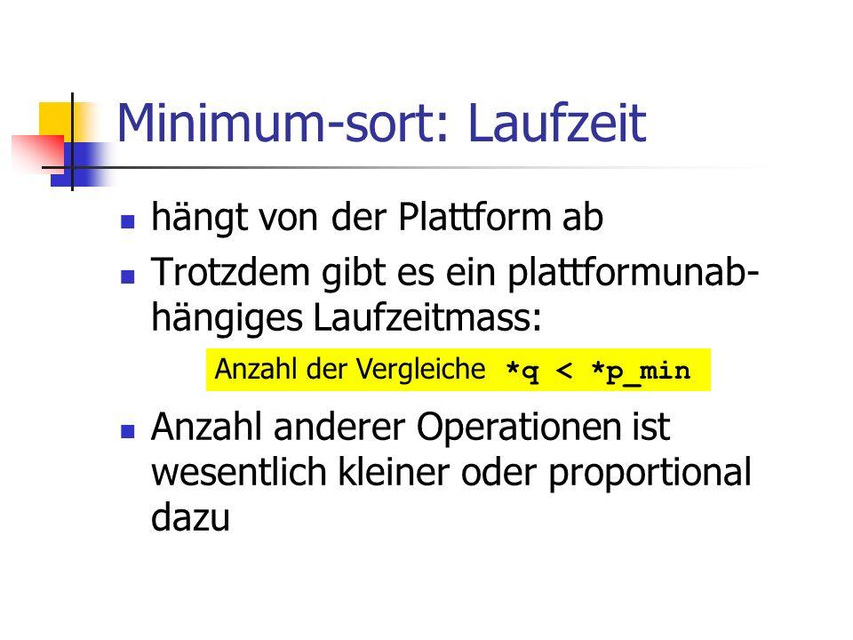 Minimum-sort: Laufzeit hängt von der Plattform ab Trotzdem gibt es ein plattformunab- hängiges Laufzeitmass: Anzahl anderer Operationen ist wesentlich