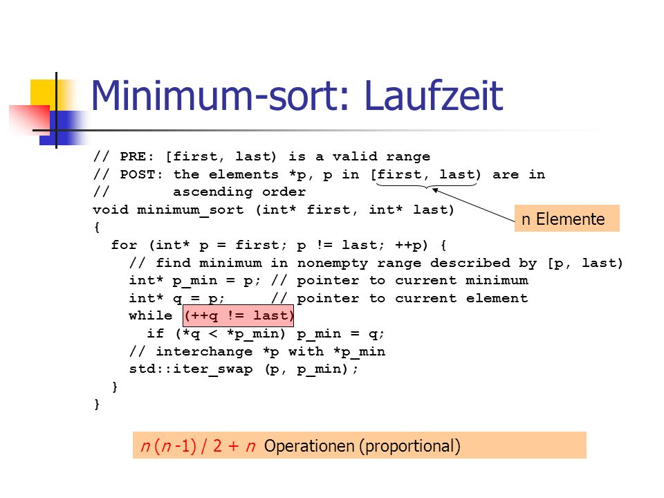 Minimum-sort: Laufzeit // PRE: [first, last) is a valid range // POST: the elements *p, p in [first, last) are in // ascending order void minimum_sort
