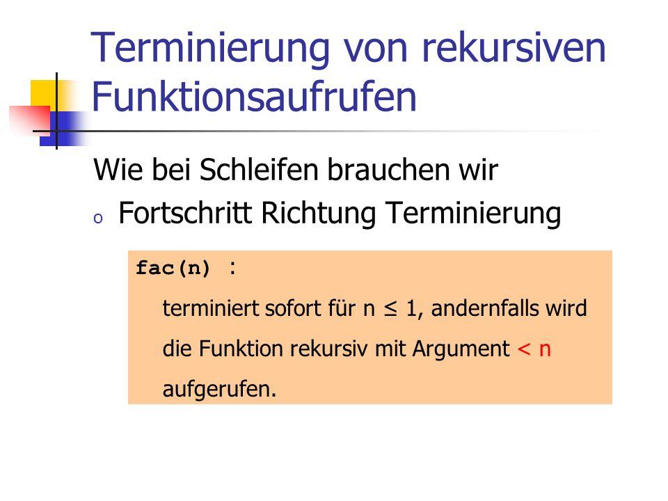 Terminierung von rekursiven Funktionsaufrufen Wie bei Schleifen brauchen wir o Fortschritt Richtung Terminierung fac(n) : terminiert sofort für n 1, a