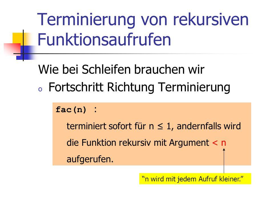 Terminierung von rekursiven Funktionsaufrufen Wie bei Schleifen brauchen wir o Fortschritt Richtung Terminierung n wird mit jedem Aufruf kleiner. fac(