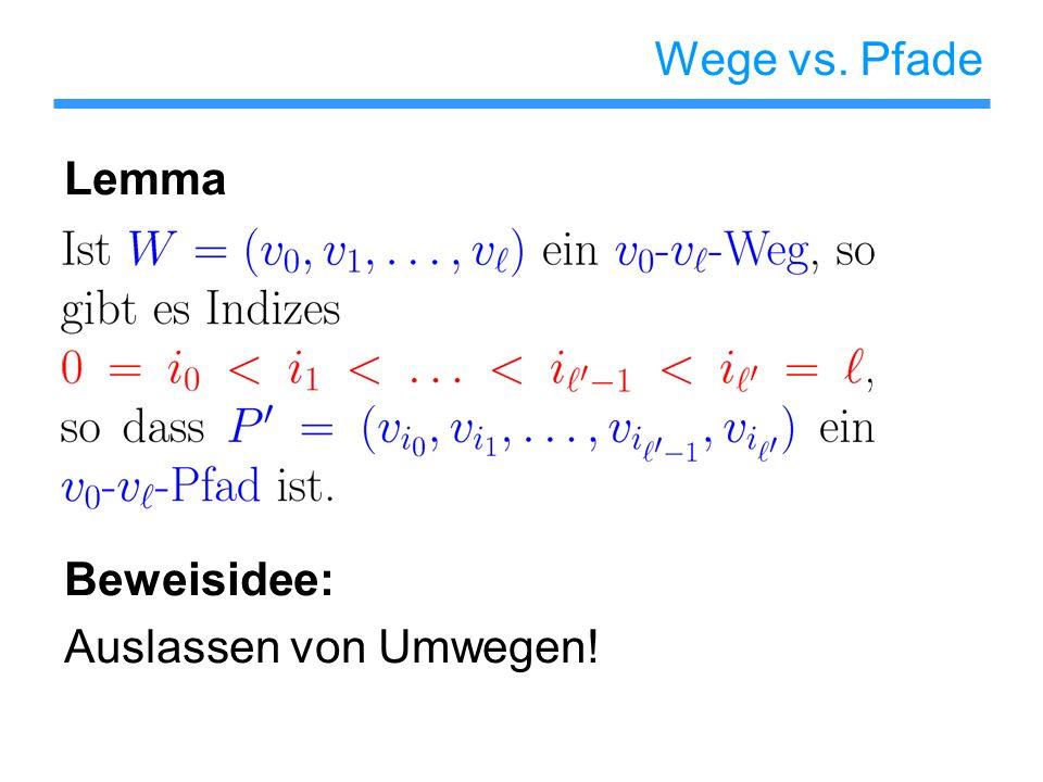 Wege vs. Pfade Lemma Beweisidee: Auslassen von Umwegen!