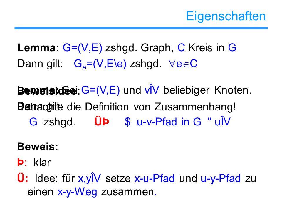 Eigenschaften Lemma: G=(V,E) zshgd. Graph, C Kreis in G Dann gilt:G e =(V,E\e) zshgd. e C Beweisidee: Betrachte die Definition von Zusammenhang! Lemma