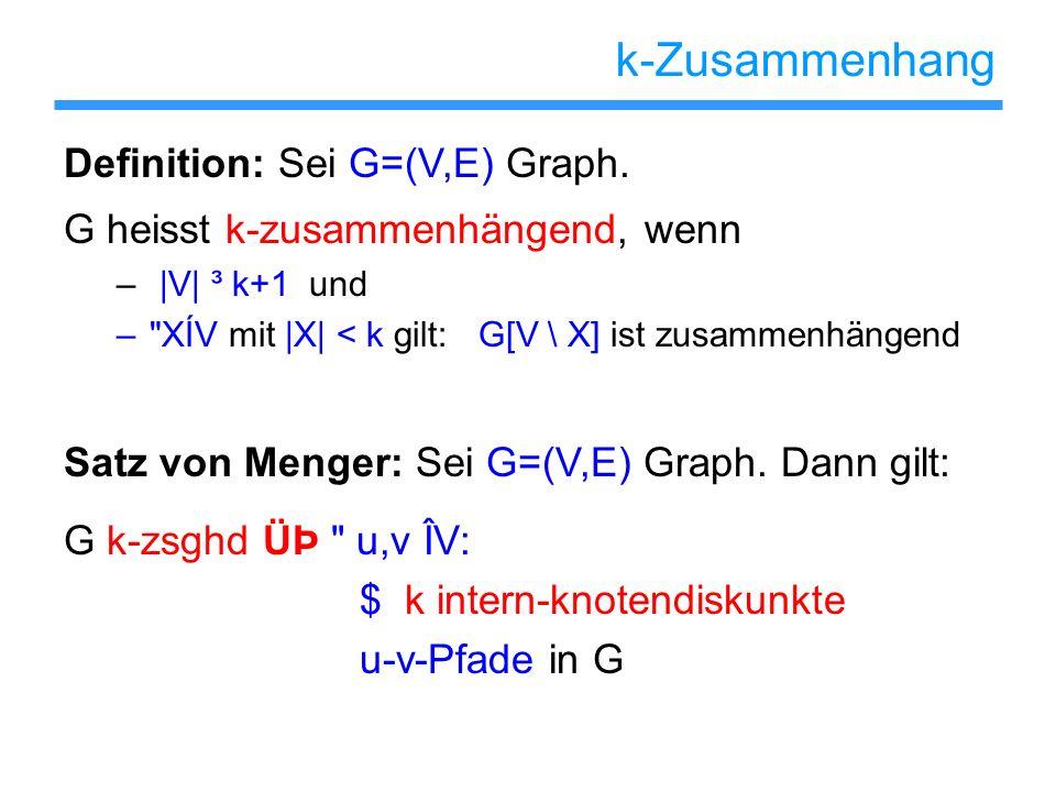k-Zusammenhang Definition: Sei G=(V,E) Graph. G heisst k-zusammenhängend, wenn – |V| ³ k+1 und –