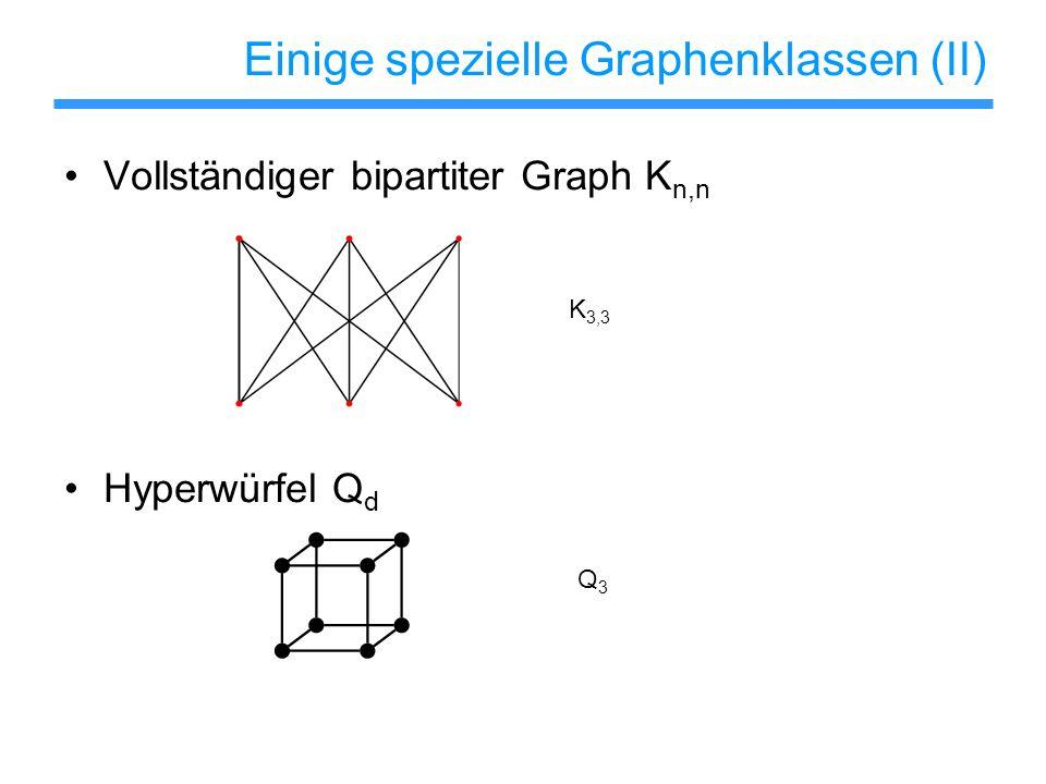 Einige spezielle Graphenklassen (II) Vollständiger bipartiter Graph K n,n Hyperwürfel Q d K 3,3 Q3Q3