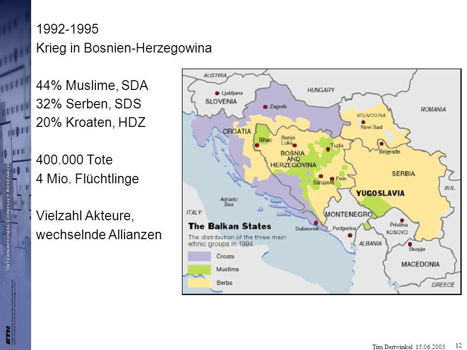 Tim Dertwinkel 15.06.2005 12 1992-1995 Krieg in Bosnien-Herzegowina 44% Muslime, SDA 32% Serben, SDS 20% Kroaten, HDZ 400.000 Tote 4 Mio. Flüchtlinge