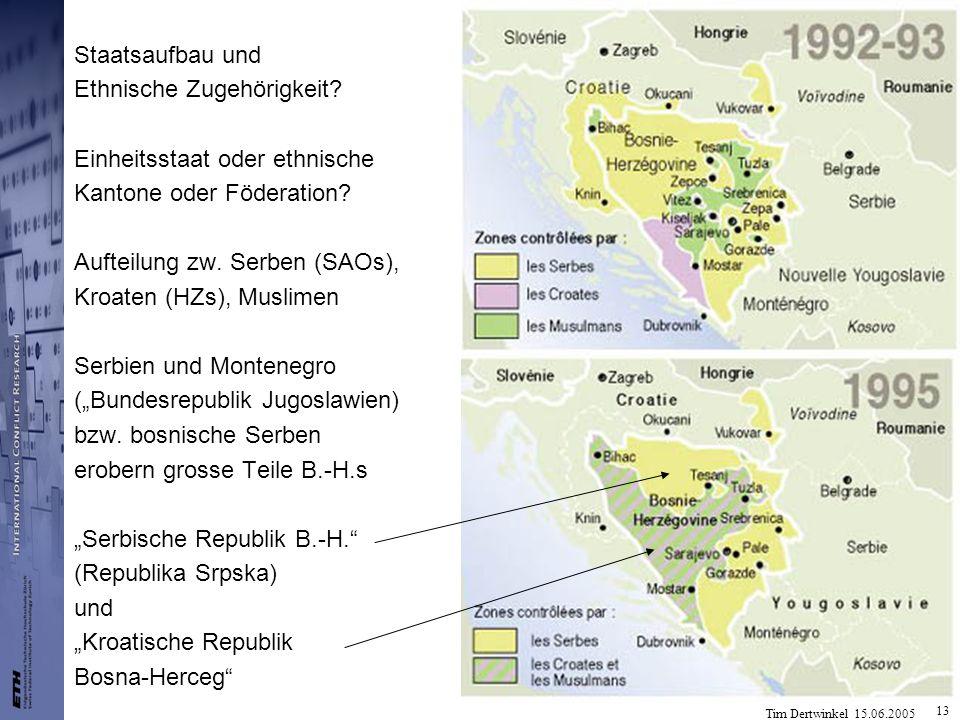 Tim Dertwinkel 15.06.2005 13 Staatsaufbau und Ethnische Zugehörigkeit? Einheitsstaat oder ethnische Kantone oder Föderation? Aufteilung zw. Serben (SA