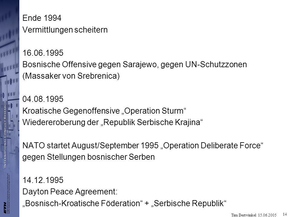 Tim Dertwinkel 15.06.2005 14 Ende 1994 Vermittlungen scheitern 16.06.1995 Bosnische Offensive gegen Sarajewo, gegen UN-Schutzzonen (Massaker von Srebr