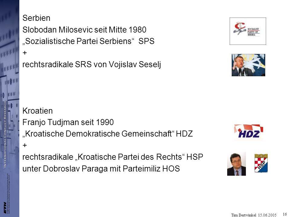 Tim Dertwinkel 15.06.2005 16 Serbien Slobodan Milosevic seit Mitte 1980 Sozialistische Partei Serbiens SPS + rechtsradikale SRS von Vojislav Seselj Kr