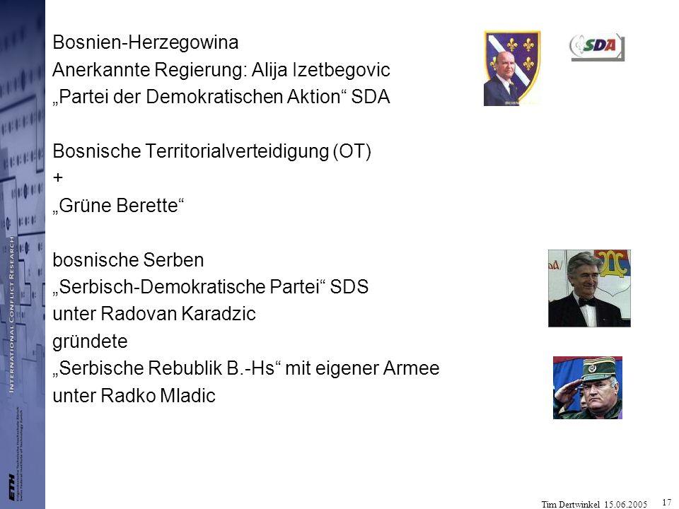 Tim Dertwinkel 15.06.2005 17 Bosnien-Herzegowina Anerkannte Regierung: Alija Izetbegovic Partei der Demokratischen Aktion SDA Bosnische Territorialver