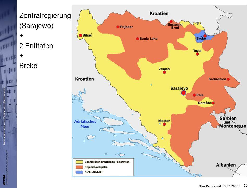 Tim Dertwinkel 15.06.2005 26 Zentralregierung (Sarajewo) + 2 Entitäten + Brcko