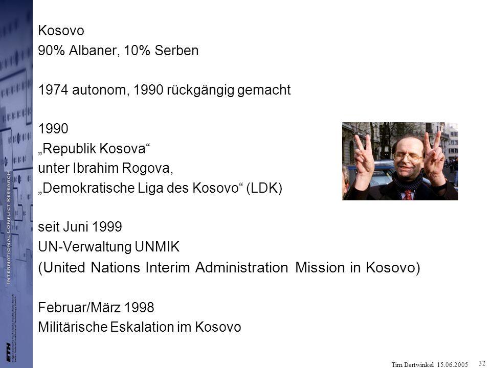 Tim Dertwinkel 15.06.2005 32 Kosovo 90% Albaner, 10% Serben 1974 autonom, 1990 rückgängig gemacht 1990 Republik Kosova unter Ibrahim Rogova, Demokrati