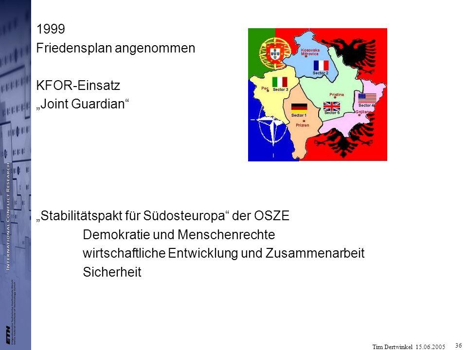Tim Dertwinkel 15.06.2005 36 1999 Friedensplan angenommen KFOR-Einsatz Joint Guardian Stabilitätspakt für Südosteuropa der OSZE Demokratie und Mensche