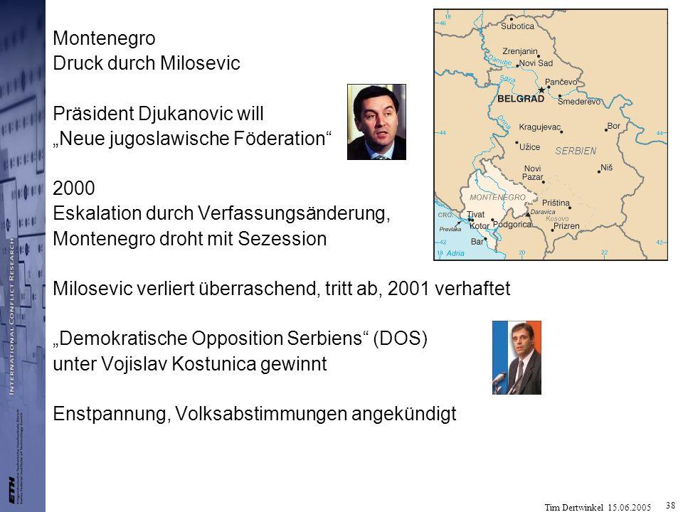 Tim Dertwinkel 15.06.2005 38 Montenegro Druck durch Milosevic Präsident Djukanovic will Neue jugoslawische Föderation 2000 Eskalation durch Verfassung