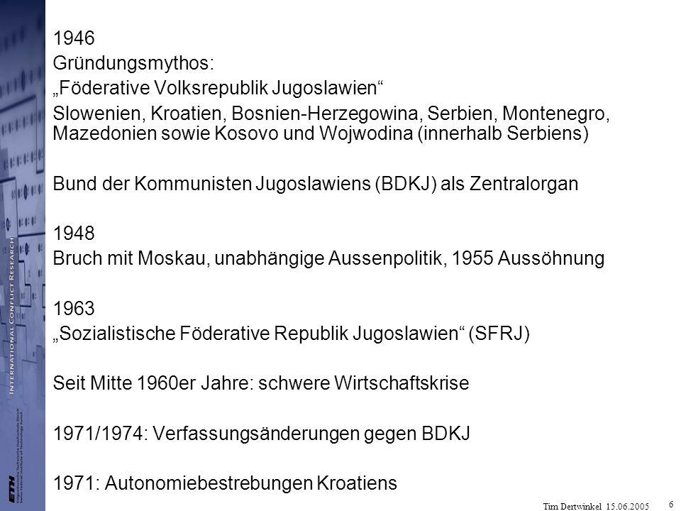 Tim Dertwinkel 15.06.2005 17 Bosnien-Herzegowina Anerkannte Regierung: Alija Izetbegovic Partei der Demokratischen Aktion SDA Bosnische Territorialverteidigung (OT) + Grüne Berette bosnische Serben Serbisch-Demokratische Partei SDS unter Radovan Karadzic gründete Serbische Rebublik B.-Hs mit eigener Armee unter Radko Mladic