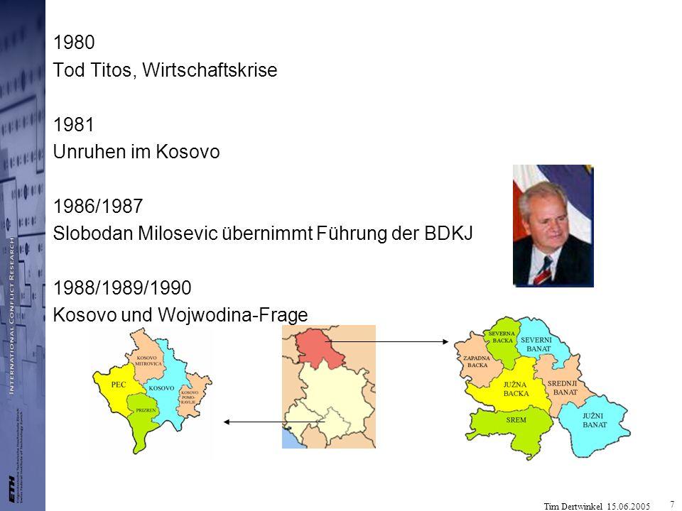 Tim Dertwinkel 15.06.2005 8 1990 Erste freie Wahlen in allen Republiken, Zerfallsprozess Ende des zweiten Jugoslawiens (25.06.1991) Slowenien Demos: Sezessionspolitik unter Milan Kucan Kroatien Kroatische Demokratische Gemeinschaft (HDZ) unter Franjo Tudjman, ebenfalls Sezession