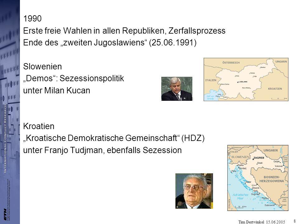 Tim Dertwinkel 15.06.2005 8 1990 Erste freie Wahlen in allen Republiken, Zerfallsprozess Ende des zweiten Jugoslawiens (25.06.1991) Slowenien Demos: S