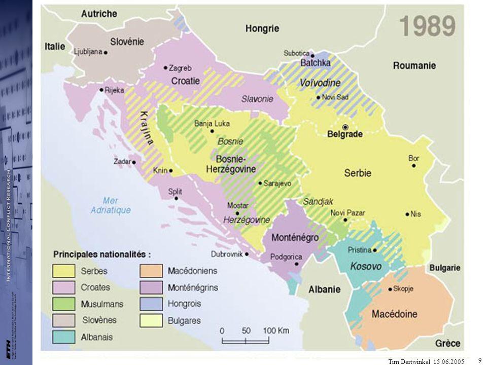 Tim Dertwinkel 15.06.2005 30 Mazedonien 23% Albaner 1993 als frühere Jugoslawische Republik Makedonien (FYROM) in UN aufgenommen, von Grossteil der EU anerkannt Griechenland verweigert Anerkennung, Handelsembargo 1994-1995 UNPREDEP 1993-1999, Grenze zu Albanien und Kosovo 1999 durch Veto Chinas nicht verlängert Namensstreit mit Griechenland